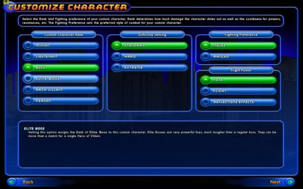 Choose rank, difficulty, fighting preference and flight power