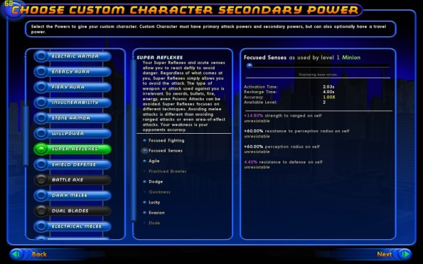 Select powerset, see what will be used and see details for every power at different levels