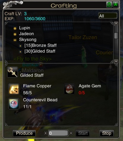 Craft view for a level 30 Skysong staff