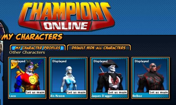 My Champions Online characters currently
